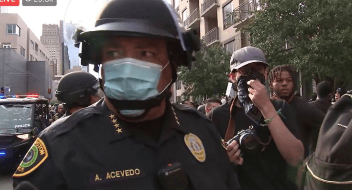 Riots break out in Houston hours after police chief marches with Black Lives Matter protestors