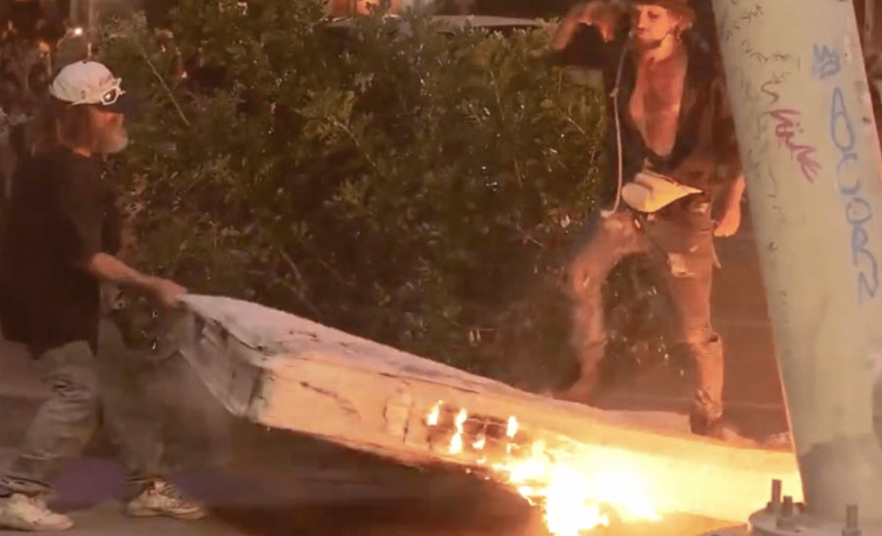 "Watch: Antifa burns homeless man's mattress as he begs them to stop - ""Please, I live here!"""