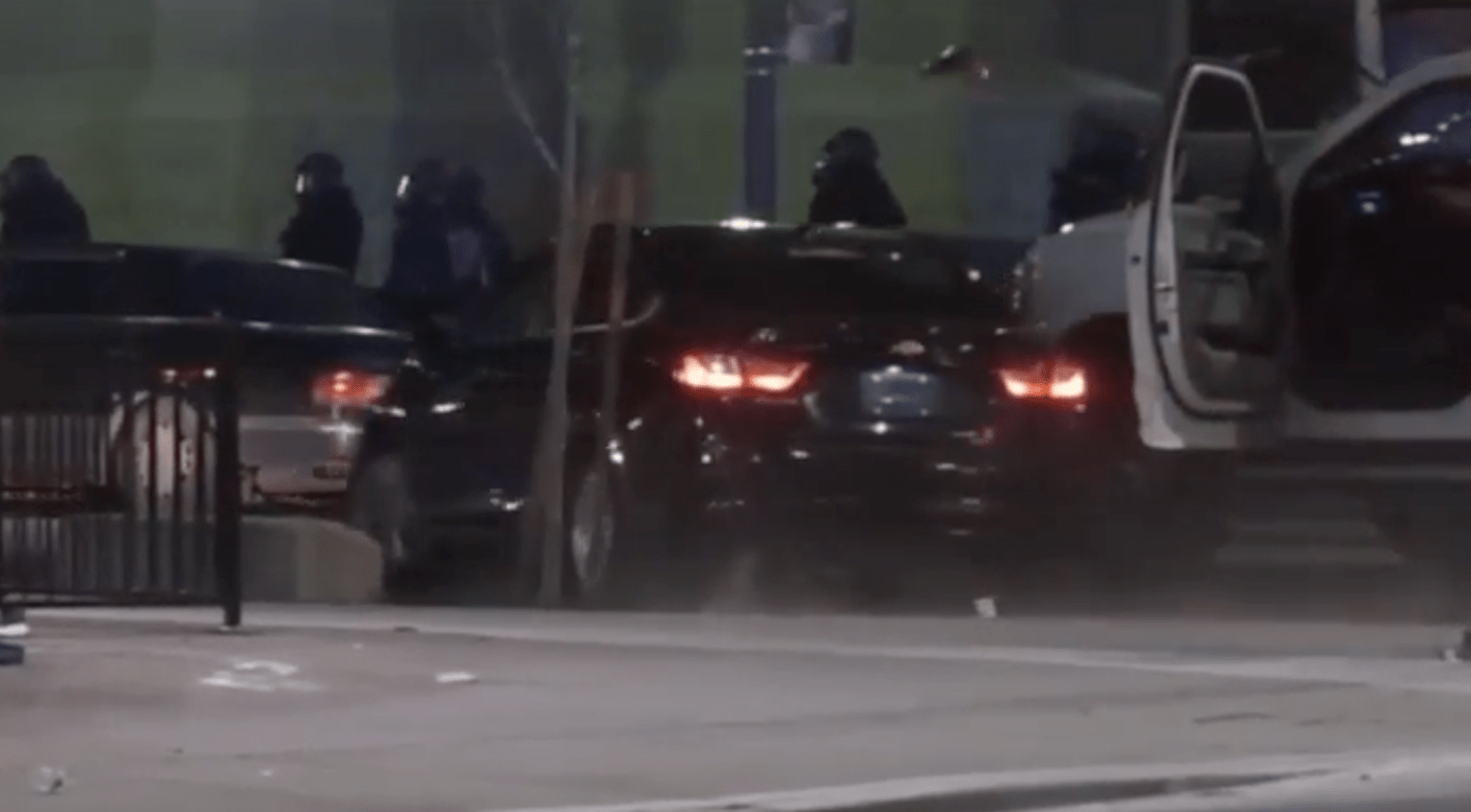 Denver: Car hits, seriously injuries three cops, takes off. Chief - Weapons and gasoline planted in protest areas.