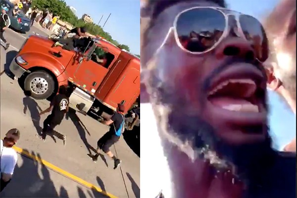 Watch: Tanker truck speeds into crowd of protesters. Angry crowd pulls out driver, beats him.