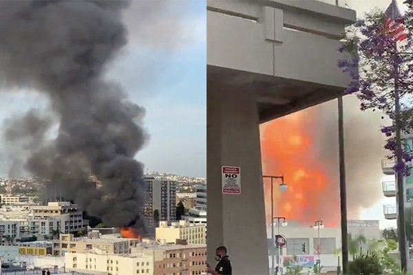 Eleven firefighters reported down, multiple buildings burn after LA explosion