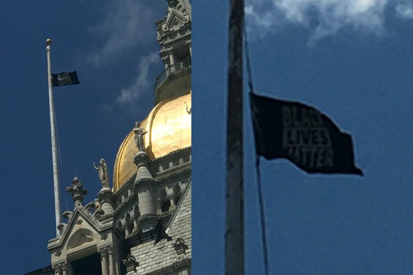 In ultimate insult to police across Connecticut, state raises Black Lives Matter flag over Capitol building