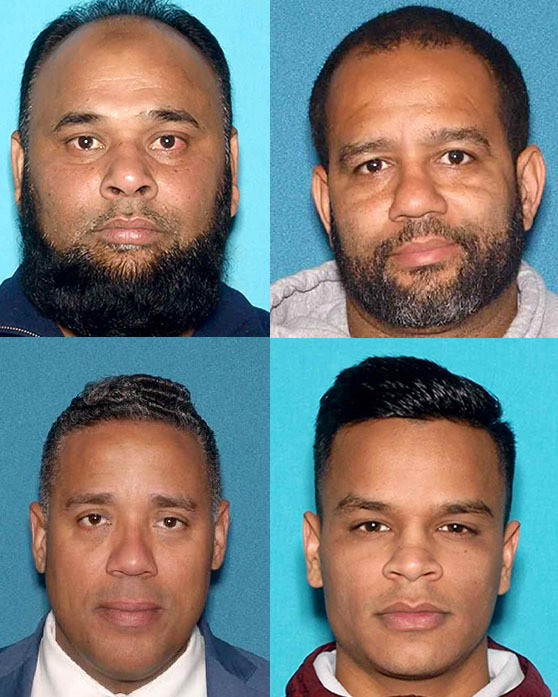 The four men arrested Thursday in the alleged voter fraud scheme in Pateron. Left to right from top left: Shelim Khalique, Councilman Michael Jackson, Councilman-elect Alex Mendez, and Abu Kazyen. (Courtesy: New Jersey Attorney General's Office)