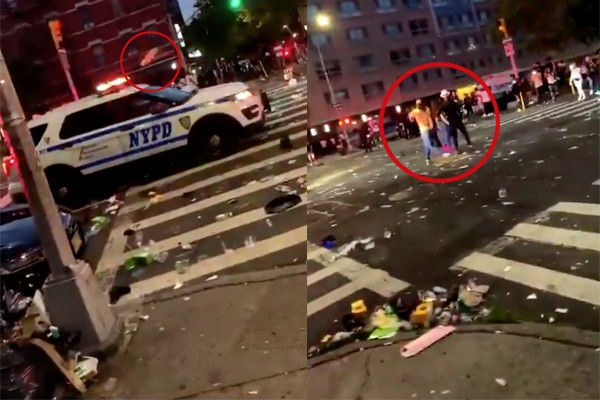 NYPD responds to call about a shooting - gets blocked and attacked by massive group of people throwing glass bottles