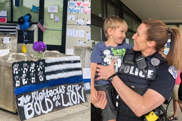 "Washington community honors officers with signs - Police Chief rips them down because it's ""divisive"""