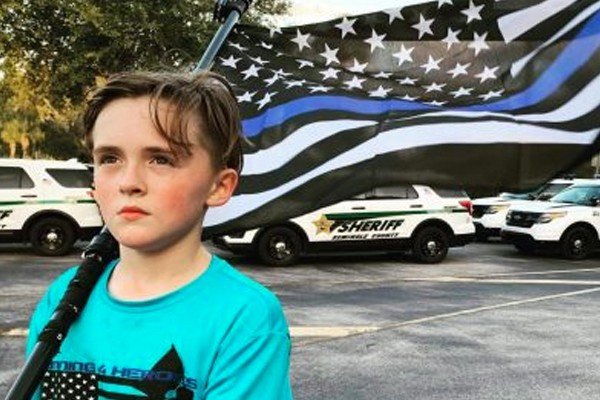 This kid has now run more than 500 miles - all in honor of officers who have been killed in the line of duty.