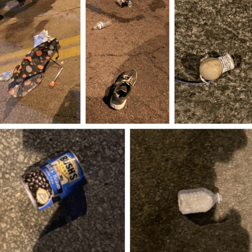 Photos released of objects thrown at cops: rocks, cans of beans, bags of urine, frozen water bottles