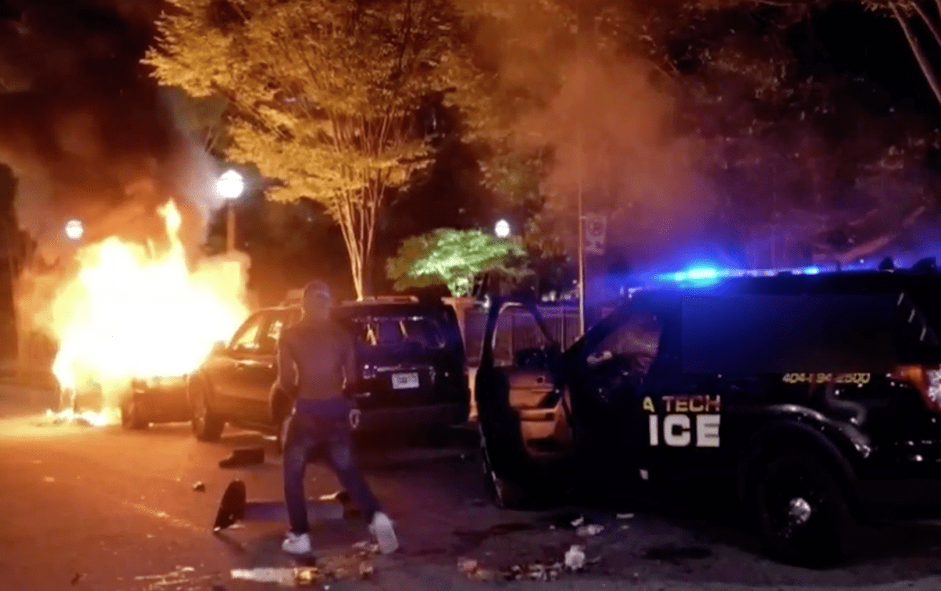 "Atlanta: ""Peaceful protests?"" Patrol rifles stolen from police cruisers before vehicles were torched."