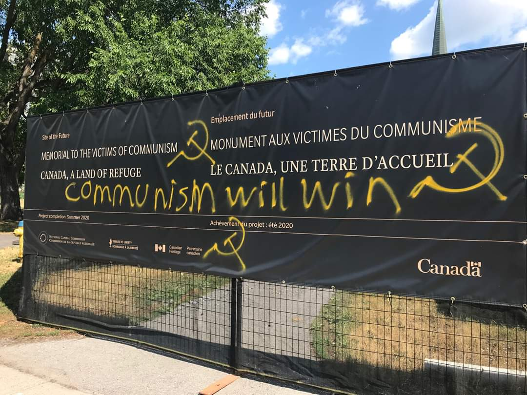 Memorial to victims of Communism vandalized, 'Communism will win' spray painted over it