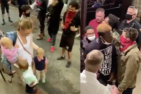 Young mom and kids, Christians overwhelmed by Black Lives Matter protestors who stormed New York church