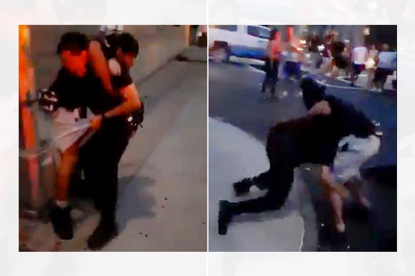 Gang member puts NYPD officer in chokehold while people film, call to beat him. Cop ends up in hospital.