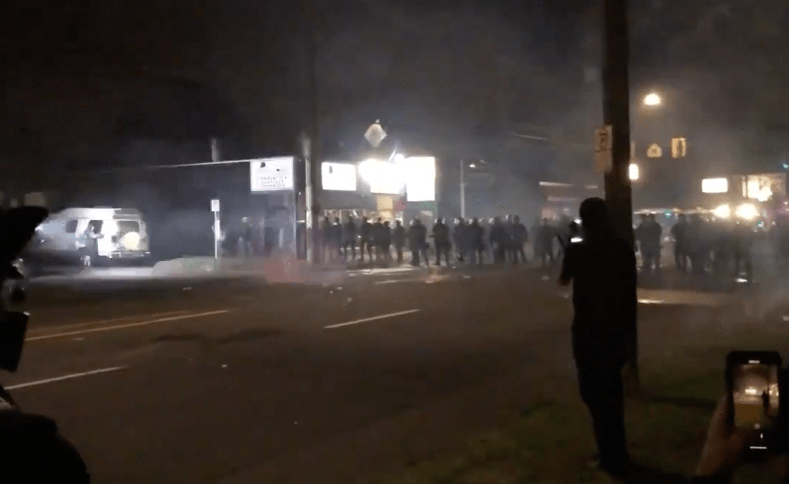 Riots in Portland once again, fires burned and rioters were said to have thrown 'baseball sized rocks' at police