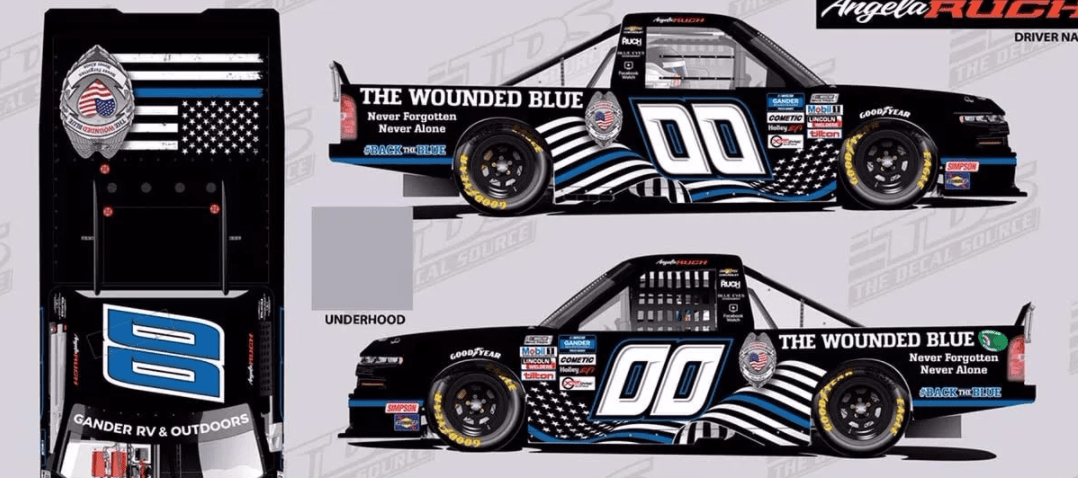 NASCAR driver and The Wounded Blue partner on #BackTheBlue car to support police officers across America
