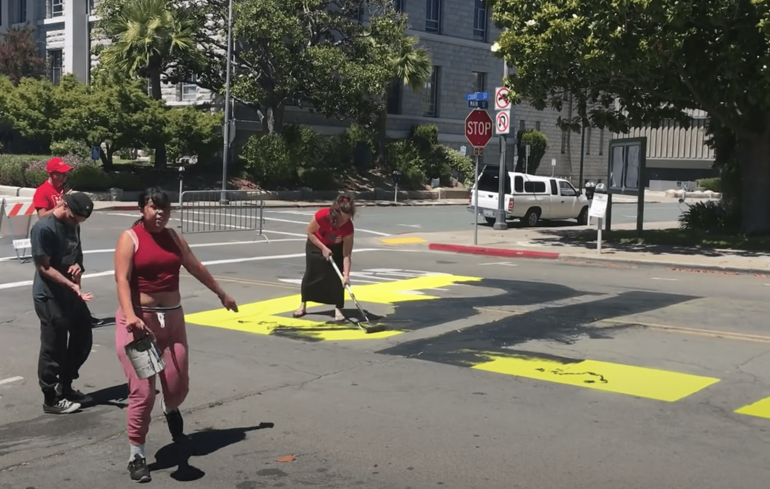 California residents charged with hate crime after painting over BLM mural (but destroying monuments is ok?)
