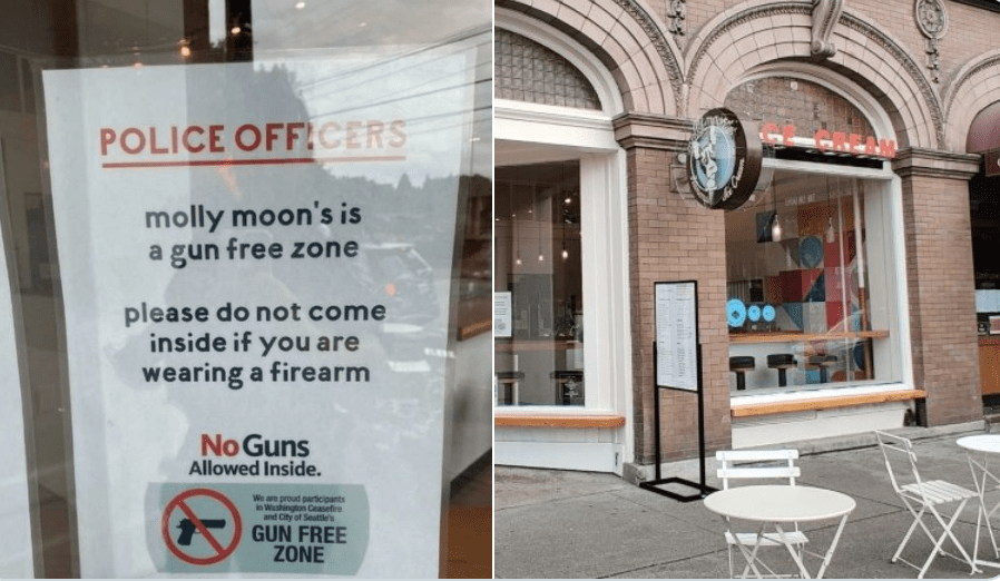 """Popular ice cream shop posts sign issuing warning to police officers: """"No guns allowed."""""""