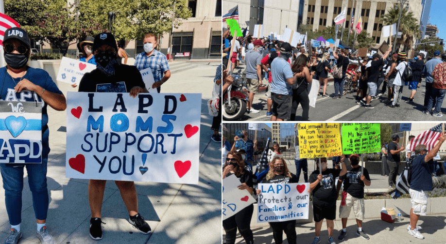 "Pro-police demonstrators gather in support of LAPD as ""Back the Blue"" rallies spread across America"