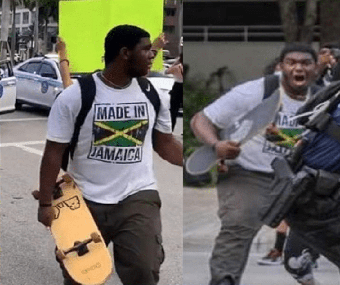 Arrests in Miami after officer smashed in the back of the head with a skateboard by protestor