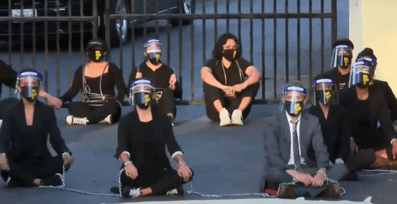 Not at my home: Protestors demanding 'release all prisoners' arrested at California governor's house