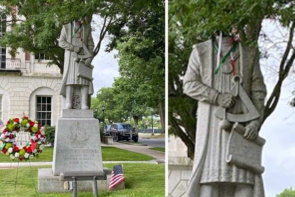 Columbus statue vandalized, beheaded. Italian Americans and motorcycle club want answers - now.