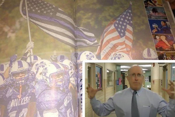 Gutless New Jersey principal caves to the woke mob over a high school yearbook picture with Blue Line flag