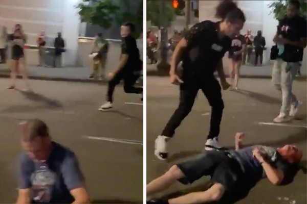 Watch: Portland Rioters drag man out of his car, beat him unconscious - violent mob blocks responding officers