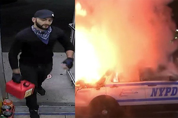Accused arsonist arrested for torching NYPD car, taunting FBI with 'TOO LATE!' message
