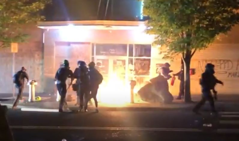 Portland Mayor complains rioters are helping Trump (as they lock people in buildings and try to burn them down)