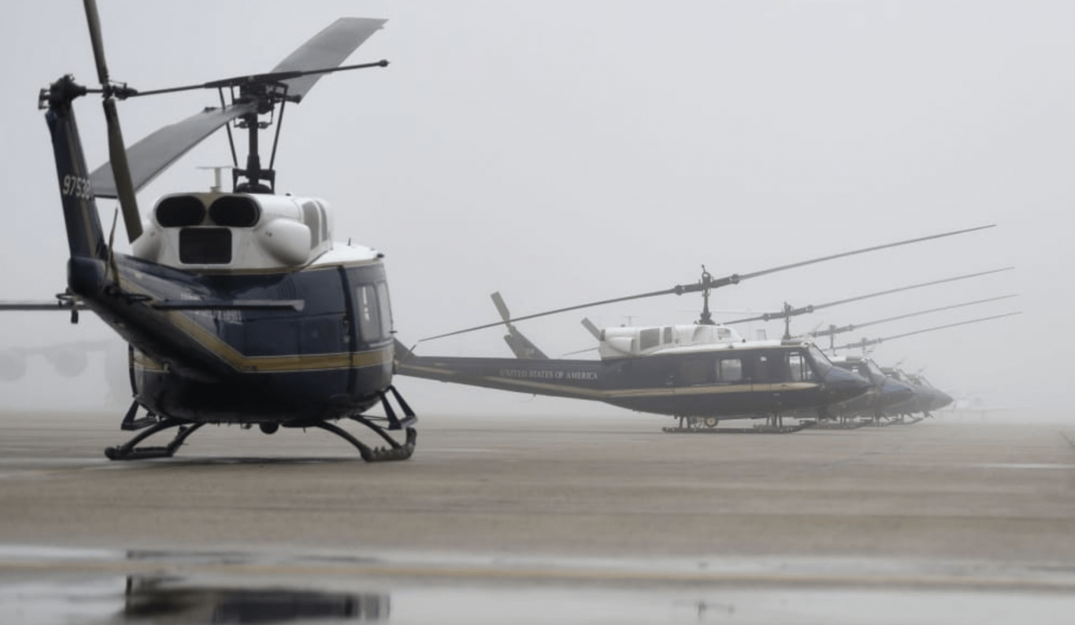 "Multiple UH-1N Iroquois ""Huey"" aircraft from the 1st Helicopter Squadron sit on the flightline at Joint Base Andrews, Md. (U.S. Air Force photo by Airman 1st Class Spencer Slocum)"
