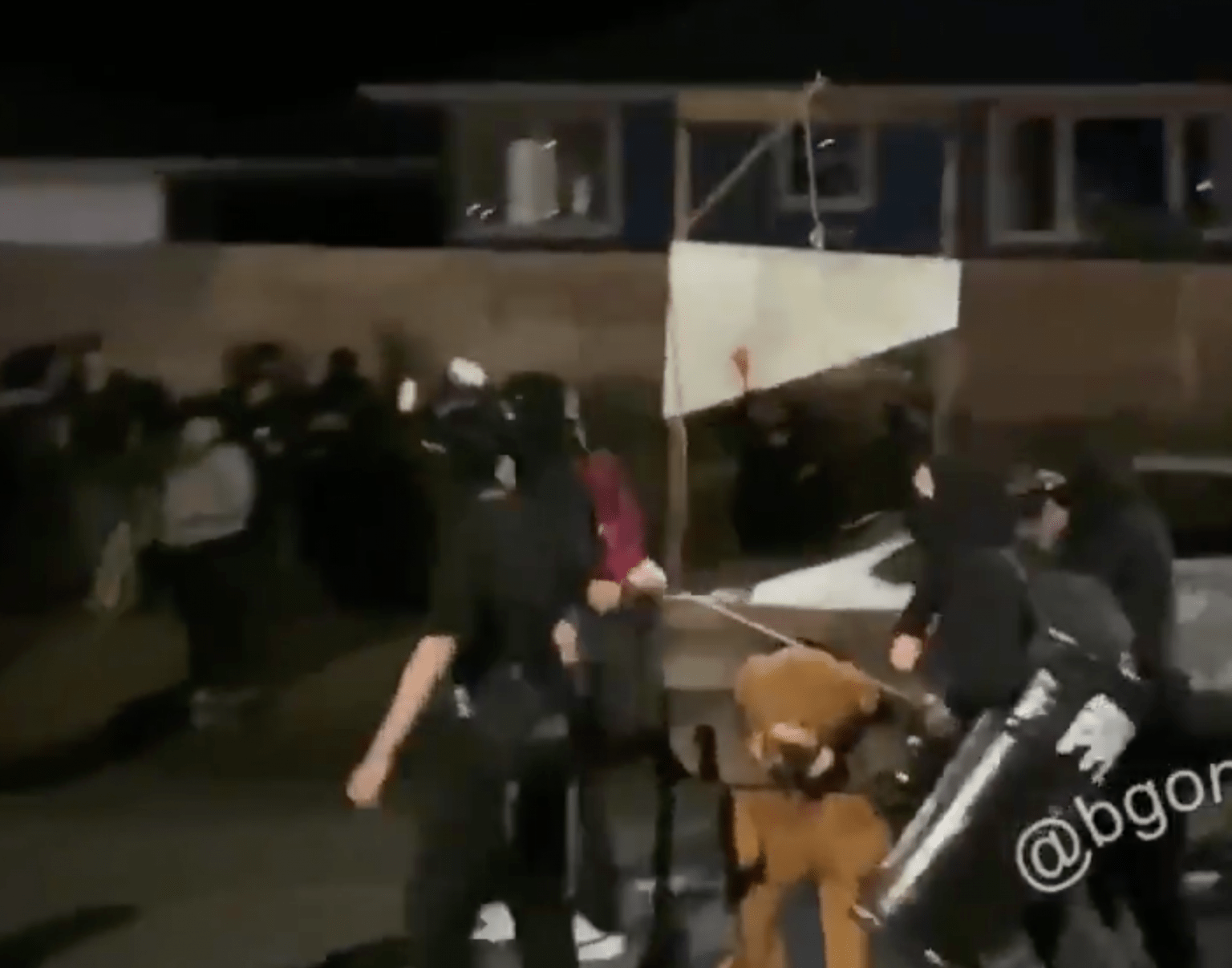 Antifa brings guillotine into Portland residential neighborhood, burns American flags: 'Get in the f-ing streets!'