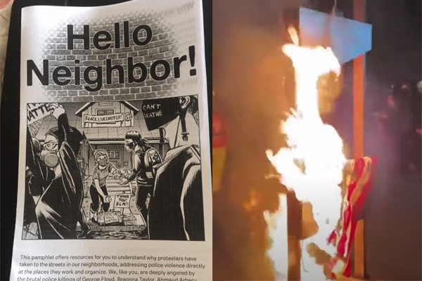 Confirmed: Rioters leaving Nazi-style propaganda pamphlets in neighborhoods after waking up residents in middle of the night