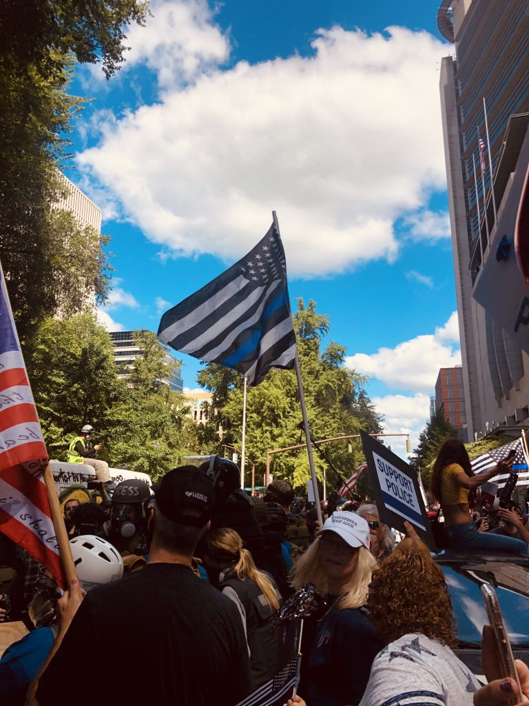 pro police rally thin blue line flag