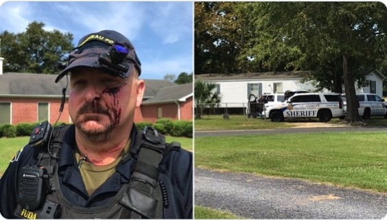 Police chief stabbed in the face during a standoff with a criminal on his own property