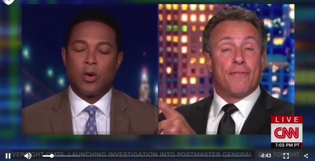 Screenshot of CNN clip of Don Lemon and Chris Cuomo on Sept. 8.