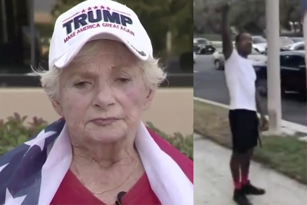 Hate crime? California man armed with knife attacked elderly white woman, 84, at Pro-Trump rally