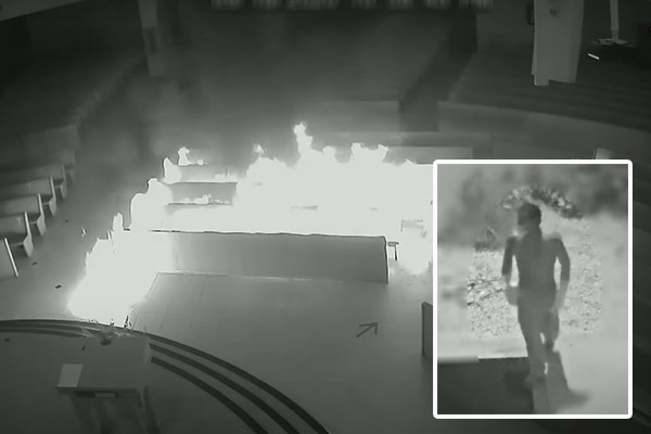 Masked arsonist breaks into Catholic church, lights it on fire. Pastor: We won't close. We won't let evil win.