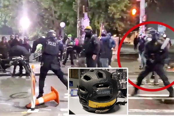 No war on cops? Rioters smash Seattle officer over head with steel bat, throw explosives at police