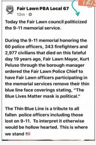 Mayor ordered officers to remove thin blue line masks at 9/11 memorial ceremony: 'The Blue Lives Matter mask is political.'