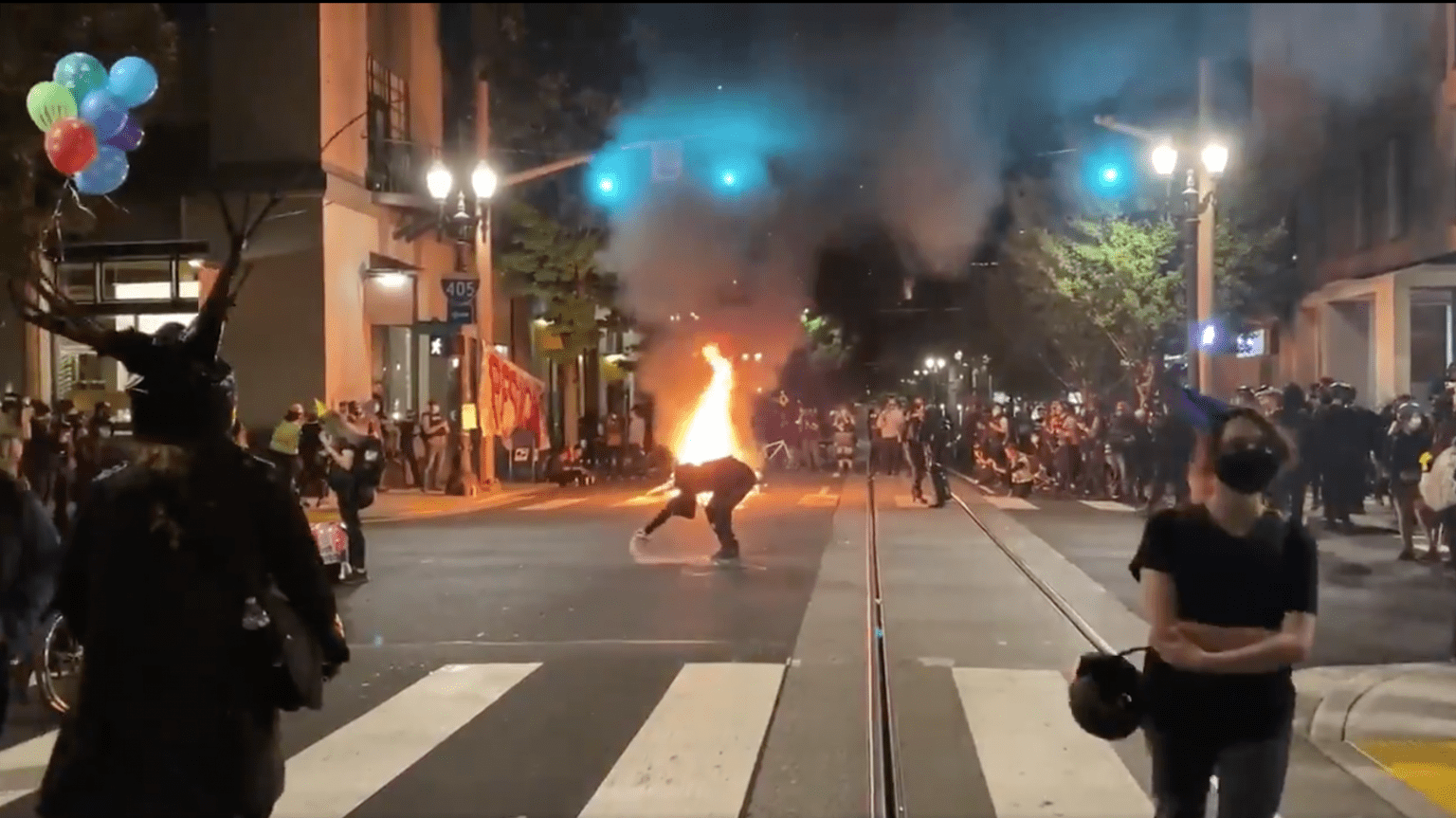 Portland rioters wear party hats, try setting the Mayor's condo on fire on his birthday