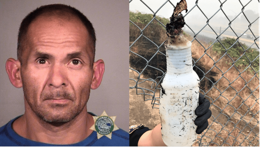 Portland: Man arrested for starting a fire with a Molotov cocktail. Released. Starts six more brush fires.