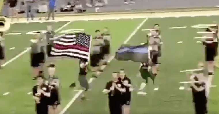High school football players suspended for carrying thin blue and red line flags onto football field