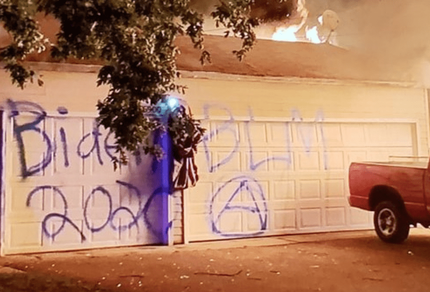 Trump supporter's house torched, vandals write Biden 2020 and BLM on garage