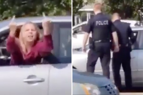 Woman mocks, flips off Trump supporters while driving - then crashes car right in front of them