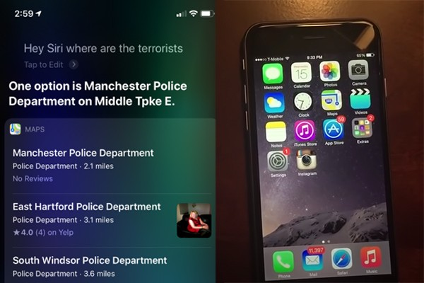 """Siri search results displays police stations when asked """"where are the terrorists"""" (op-ed)"""