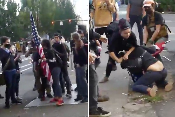 The 'idea' known as Antifa attacks woman holding American flag in Portland, dragging her by her hair