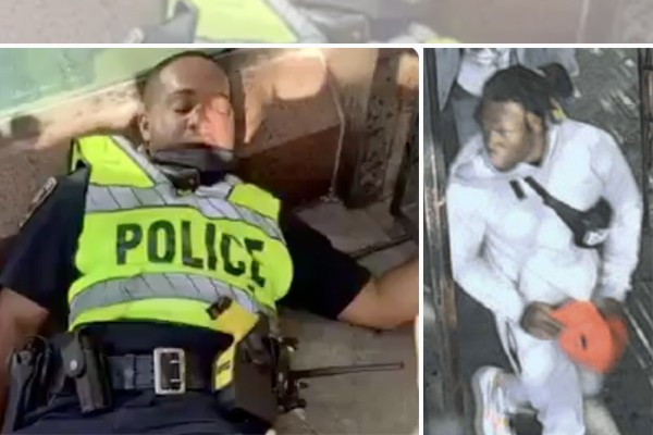Crowd laughs after officer knocked unconscious in West Baltimore - police looking for man who did it