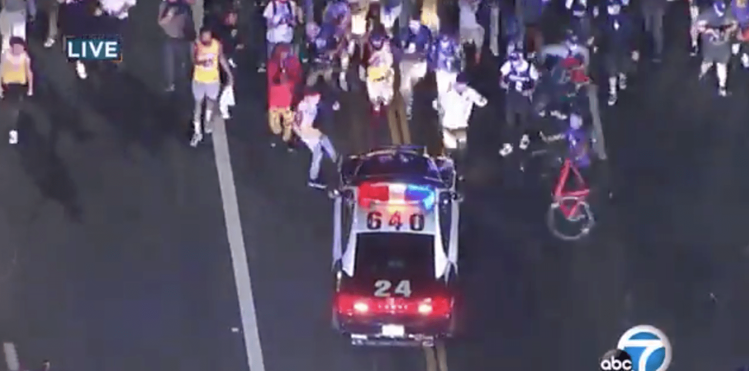 LAPD officers injured, police car damaged, vandalism and looting after NBA championship game
