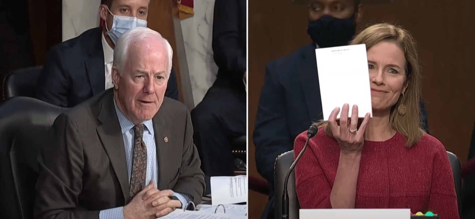Amy Coney Barrett holds up blank notepad during Senate hearing, goes viral