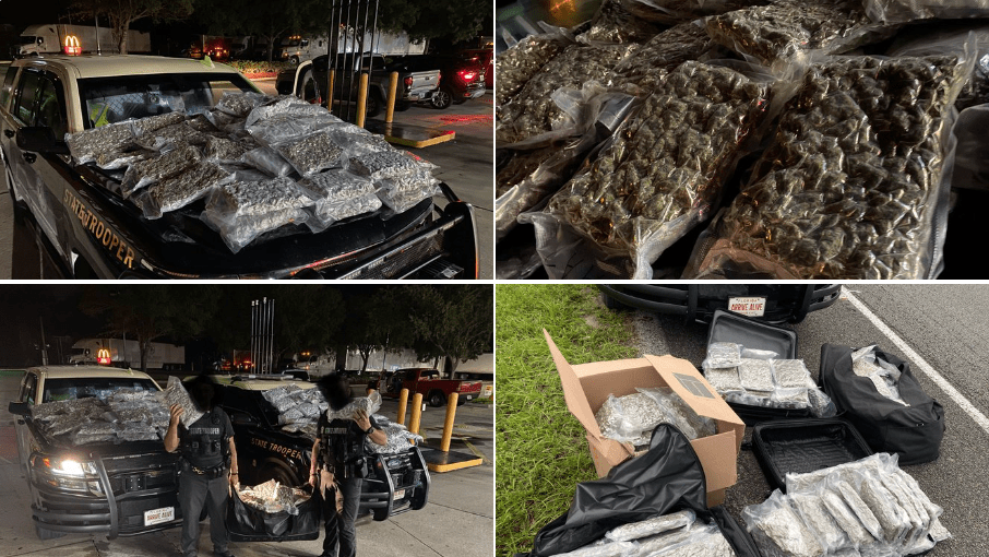 Florida Highway Patrol traffic stop for tailgating results in bust of 160 lbs of marijuana (and dryer sheets to hide the smell)