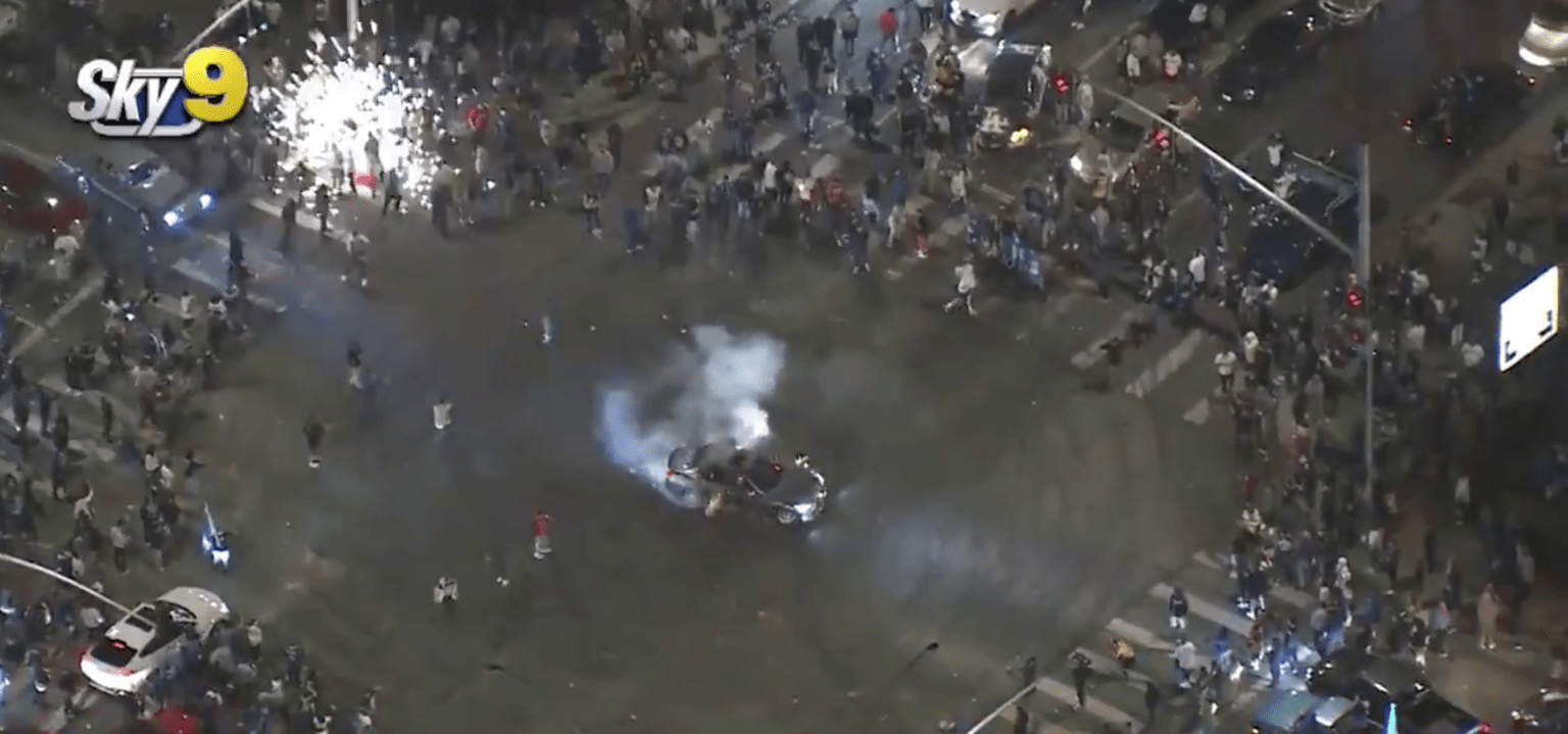 Tractor trailer, businesses looted and police assaulted during downtown Los Angeles Dodgers celebration