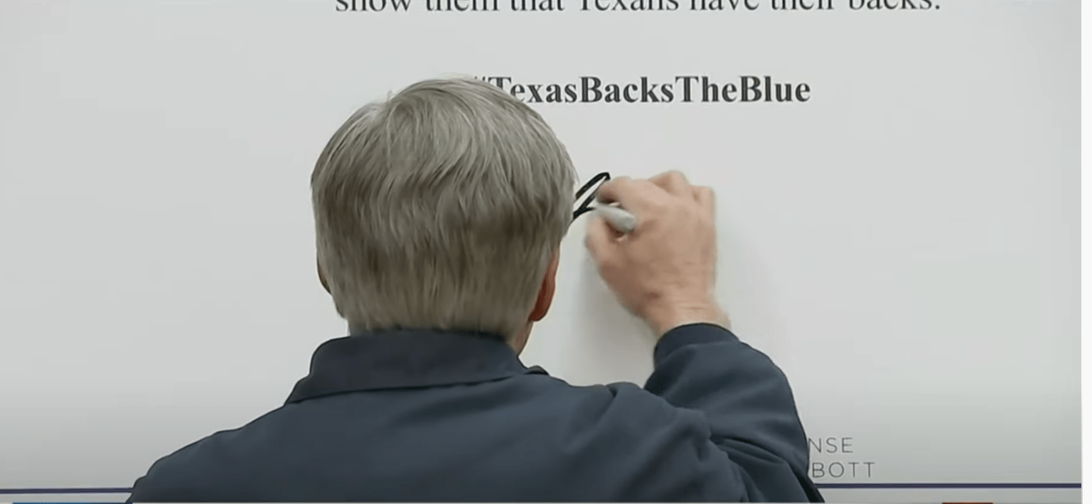 Texas Governor Abbott signs 'Back The Blue' pledge - vows to defund cities that defund the police.